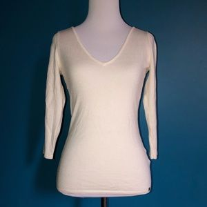 Guess white double vneck pullover w/ back detail